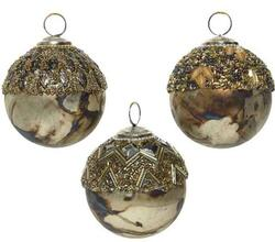 Christmas glass bauble with spangle top