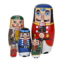 Hand Painted Walnut Soldier Russian Nesting Dolls Wooden Matryoshka Toys