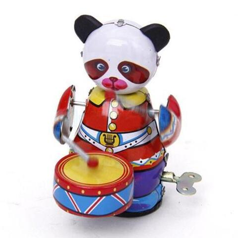 Panda Trommeslager Clockwork Mechanical Tin Toys