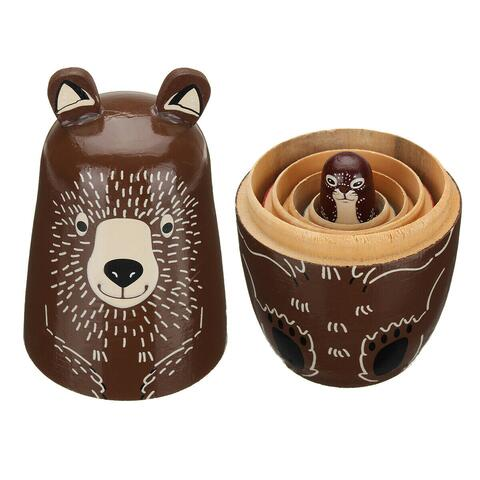 Wooden Animal Bear Russian Doll Matryoshka Toy Decor Nesting Dolls Set Kid
