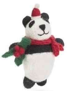 christmas hanger Panda with Holly Sprig