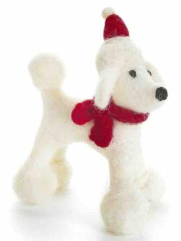 Christmas hanger Poodle with Hat & Scarf