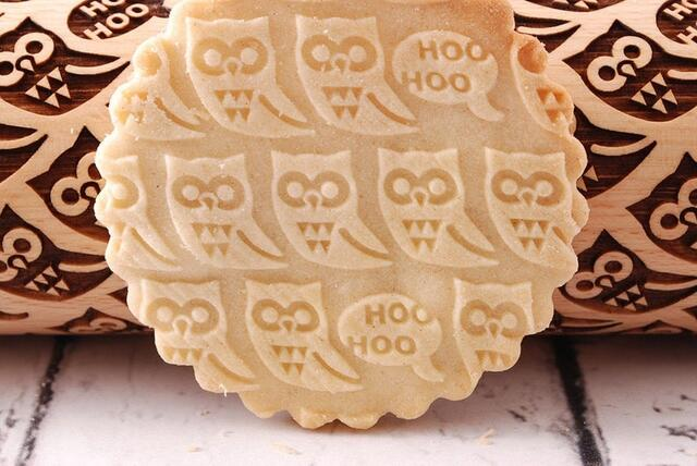 owl- MINI embossed, engraved rolling pin for cookies