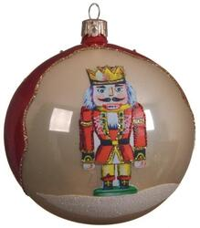 Nutcracker christmas bauble red/offwhite