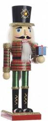 Nutcracker Soldier glitter with gift
