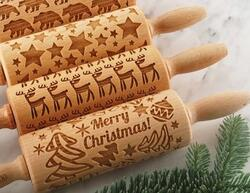 rolling pin engraved  for cookies