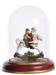 scenery i glass gloche Santa w kids - Santa on rockinghorse